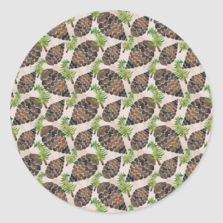 Watercolor Pine Cone Pattern Classic Round Sticker