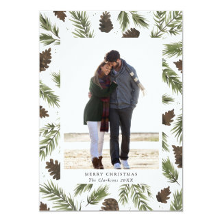 Watercolor Pine Sprigs Christmas Photo Card