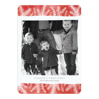 Watercolor Pine Stripe Holiday Photo Card