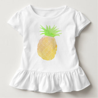 Watercolor Pineapple Baby Girl Ruffle Top Summer
