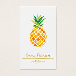 watercolor pineapple business card