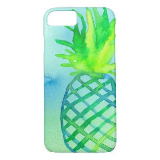 Watercolor Pineapple Chartreuse Blue iPhone 8/7 Case