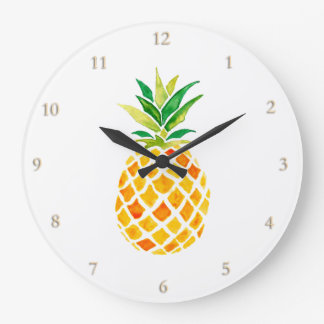 watercolor pineapple large clock