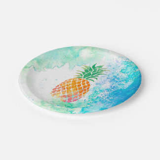 watercolor pineapple paper plate