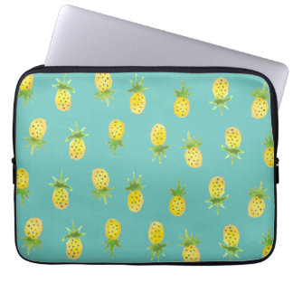 "Watercolor Pineapple Pattern 13"" Laptop Sleeve"