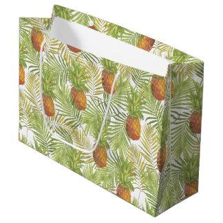Watercolor Pineapple Pattern Large Gift Bag