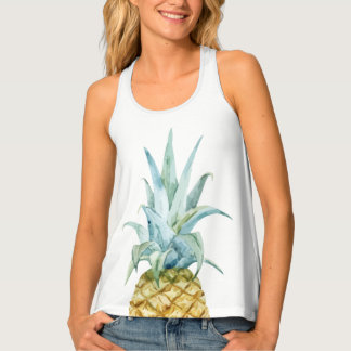 Watercolor Pineapple Racer Back Tank Top