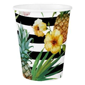 Watercolor pineapple tropical flower black stripes