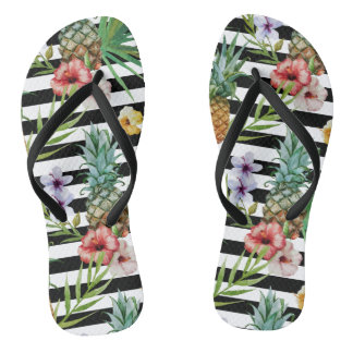Watercolor pineapple tropical flower black stripes flip flops