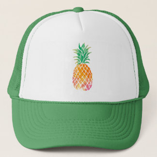 watercolor pineapple trucker hat
