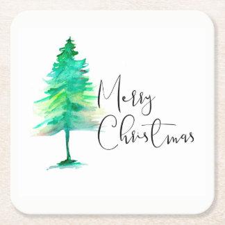 Watercolor-pinetree Square Paper Coaster