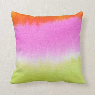 WATERCOLOR | pink and orange wet on wet texture Throw Pillow