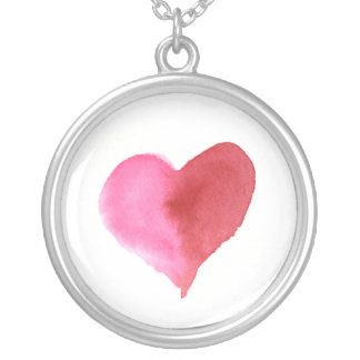 Watercolor Pink and Red Heart larger Silver Plated Necklace