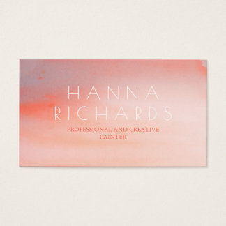 Watercolor Pink and White Modern Swash Business Card