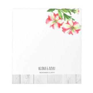 Watercolor Pink and White Petunias Illustration Notepad