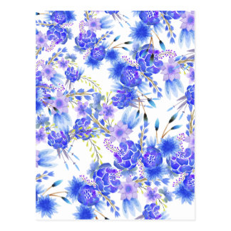 Watercolor pink blue elegant flowers pattern postcard