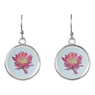 Watercolor Pink / Blue  Flower Earrings