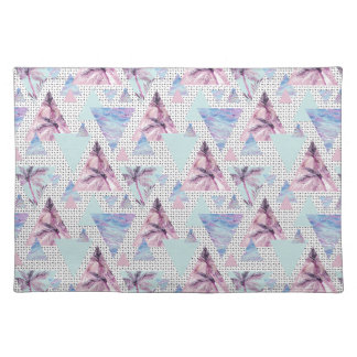 Watercolor Pink & Blue Palm Tree Pattern Placemat