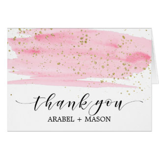 Watercolor Pink Blush and Gold Sparkle Thank You Card