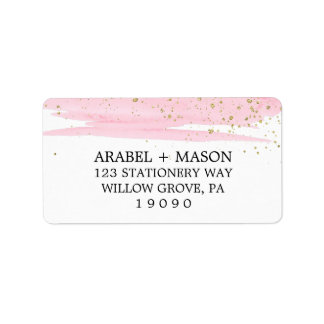 Watercolor Pink Blush and Gold Sparkle Wedding Address Label