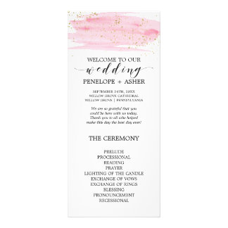 Watercolor Pink Blush and Gold Wedding Program Rack Card