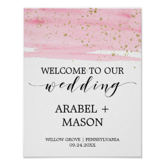 Watercolor Pink Blush and Gold Wedding Welcome Poster