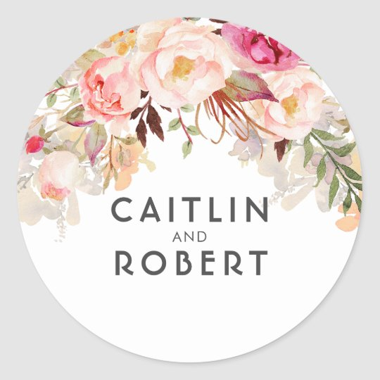 Watercolor Pink Blush Flowers Classic Round Sticker