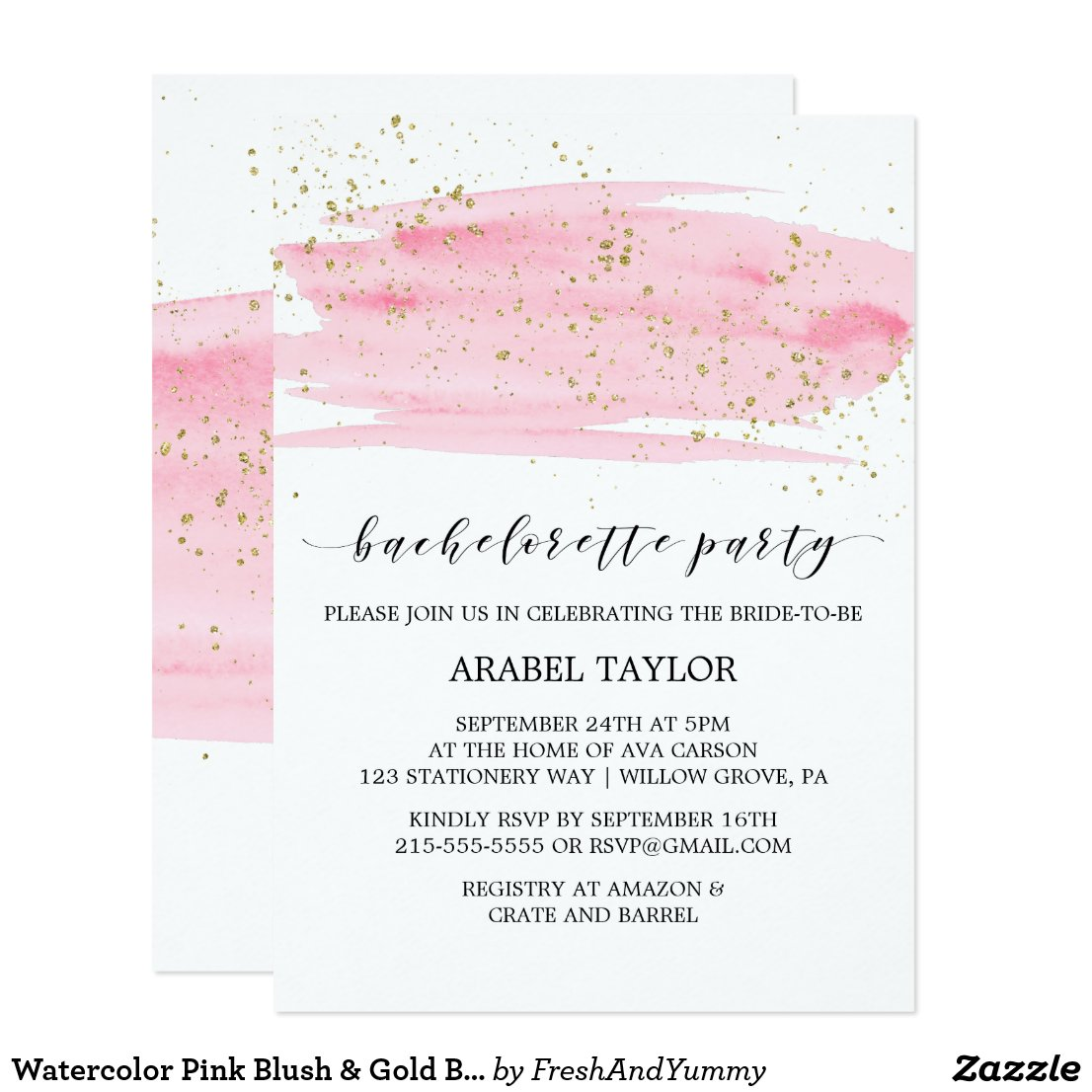 Watercolor Pink Blush & Gold Bachelorette Party Card