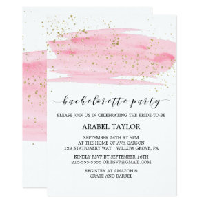 Watercolor Pink Blush & Gold Bachelorette Party Invitation