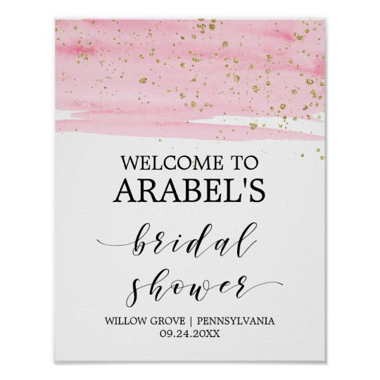 Watercolor Pink Blush & Gold Bridal Shower Welcome Poster