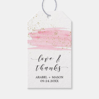 Watercolor Pink Blush & Gold Love & Thanks Wedding