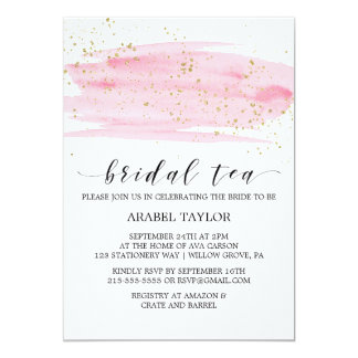Watercolor Pink Blush & Gold Sparkle Bridal Tea Card