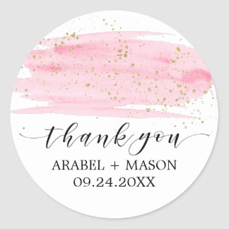 Watercolor Pink Blush & Gold Sparkle Wedding Favor Classic Round Sticker