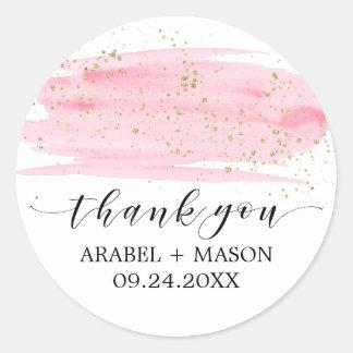 Watercolor Pink Blush & Gold Sparkle Wedding Favor Classic Round Sticker
