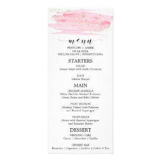 Watercolor Pink Blush & Gold Sparkle Wedding Menu
