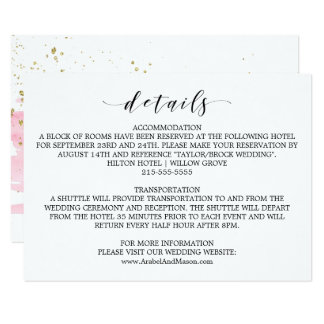 Watercolor Pink Blush & Gold Wedding Details Card