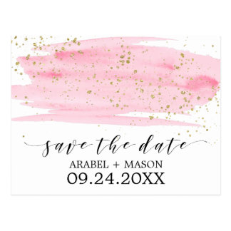 Watercolor Pink Blush & Gold Wedding Save the Date Postcard