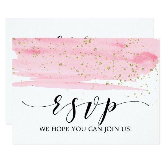 Watercolor Pink Blush & Gold Wedding Website RSVP
