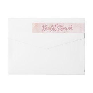 Watercolor Pink Bridal Shower Wrap Around Label