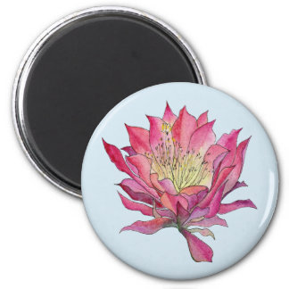 Watercolor Pink Cactus Flower Magnet