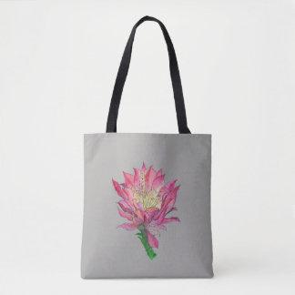 Watercolor Pink Cactus Flower Print Bag