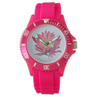 Watercolor Pink Cactus Flower Watch