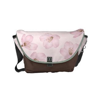 Watercolor Pink Cherry Blossom Messenger Bag
