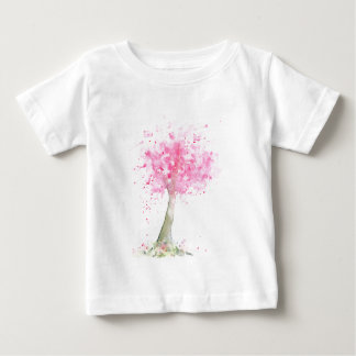Watercolor Pink Cherry Tree Baby T-Shirt