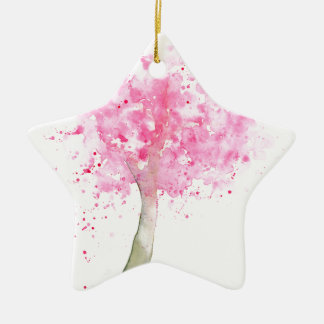 Watercolor Pink Cherry Tree Ceramic Star Decoration