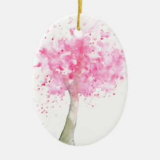 Watercolor Pink Cherry Tree Christmas Ornament