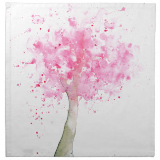 Watercolor Pink Cherry Tree Napkin