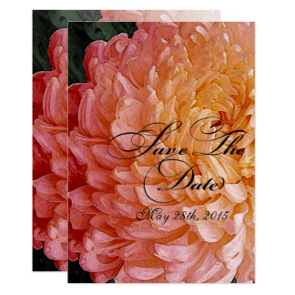 Watercolor Pink Chrysanthemum Wed Save The Date #2 Card