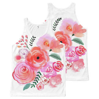 Watercolor Pink Cute Flowers Unisex Tank