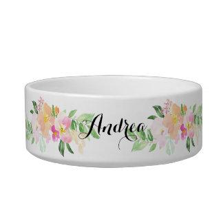Watercolor Pink Dainty Flowers Custom Pet Name Bowl